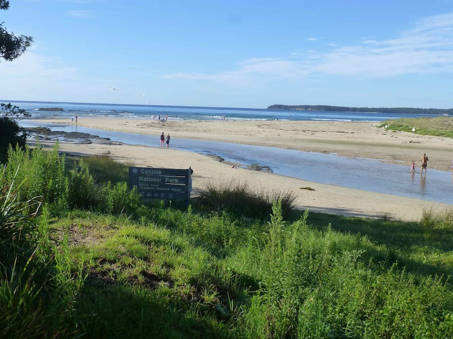 """""""The beach is an easy walk and it caters to the big kids who are after the surf and the littlies who can play in the tide pools near the mouth of the river."""" Peta"""