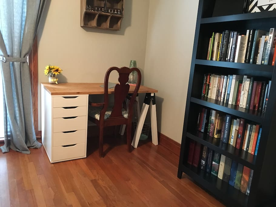 There is a small workspace and a selection of books for you to peruse during your stay!
