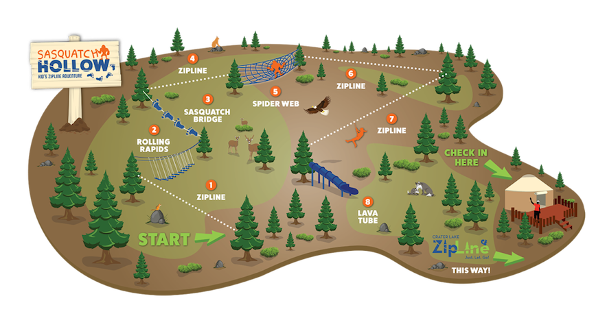 AREA ACTIVITIES: Crater Lake ZipLine also offers Sasquatch Hollow- a course for the littles ages 5 – 12. It's an adventurous and challenging course with ziplines, bridges & other fun obstacles along the way.