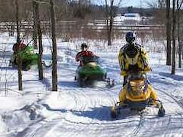 Snowmobile out to the lake or take the trails.