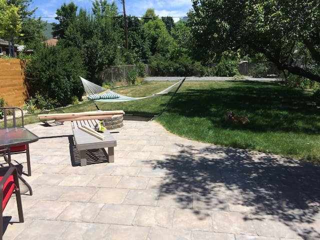 Large backyard with hammock, fire pit, and swing