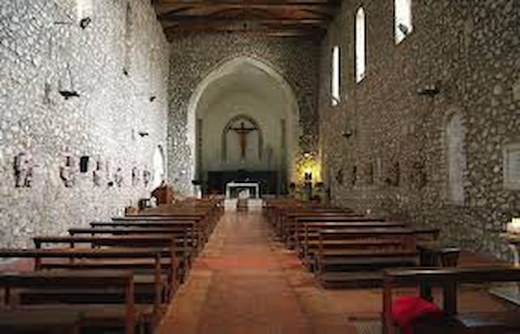 Church of St. Francis, built around 1363, by the Caetani family. The Interior is made of stone.minturno