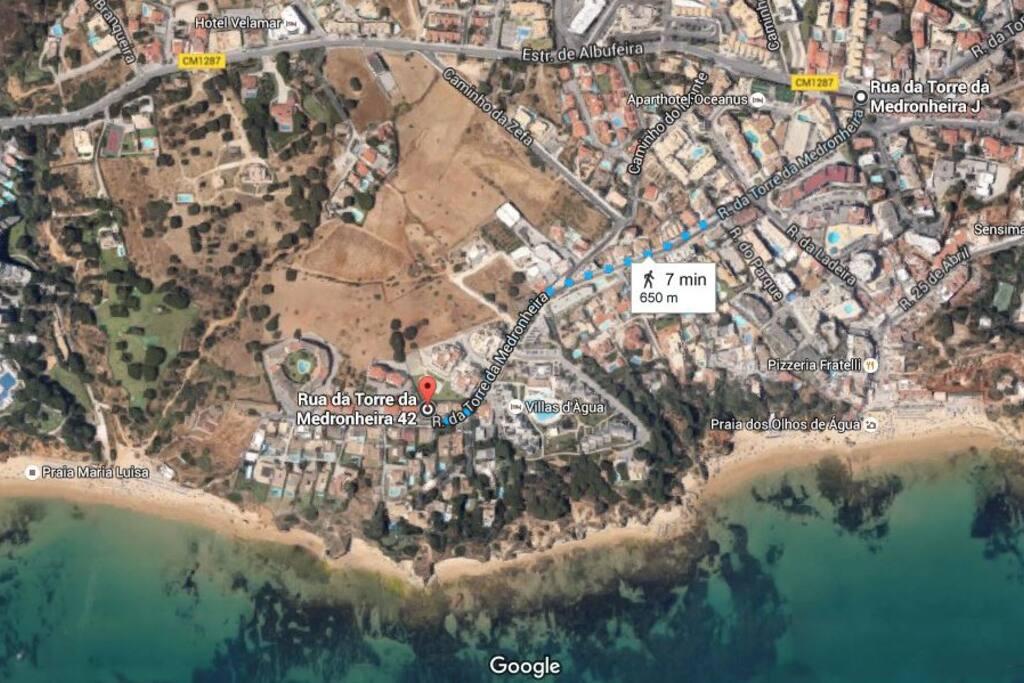 650 m to Olhos de Água town center, restaurants, shops, supermarkets, etc.