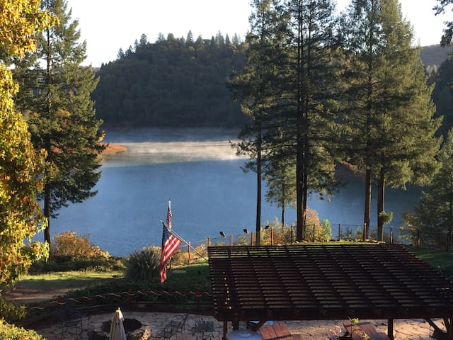 Two bedroom cabin on Rollins lake with pool.
