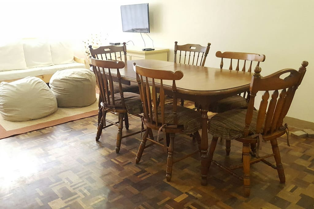 Dining area (temporary - still waiting for 10-seater dining set to arrive.) We will provide additional seats as needed.