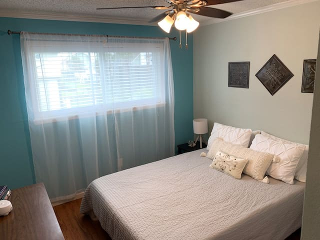 The secondary room also has a new queen mattress with lamps, Fire TV and more. Each bedroom comes with a sound machine for sleeping as well as easily accessible power ports.