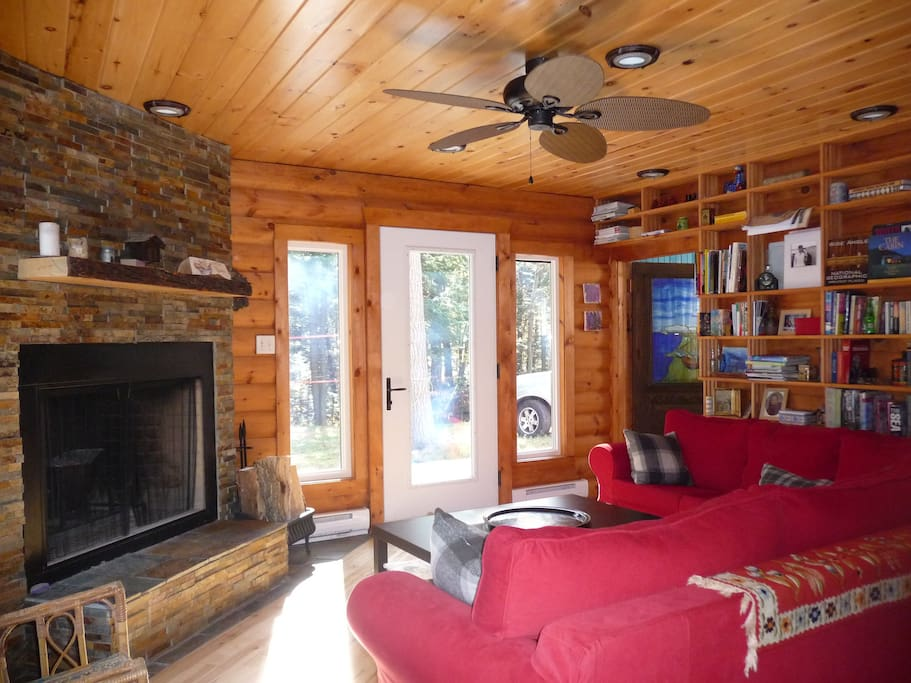 Living Room with Lodge Style Fireplace