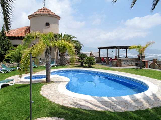 Villa Pepe with pool, located on a hilltop with a wide, impressive view of the sea and the mountains