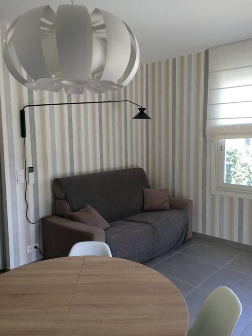 Salon avec canapé/lit