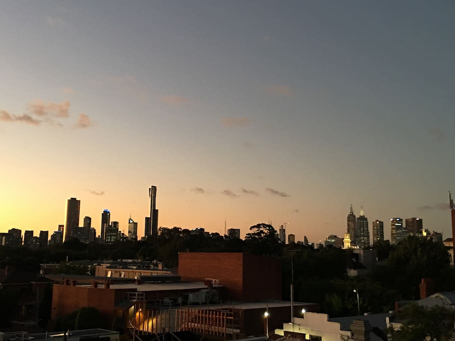 Actual view. Enjoy a glass of vino on the balcony while watching the sunset over the Melbourne skyline.