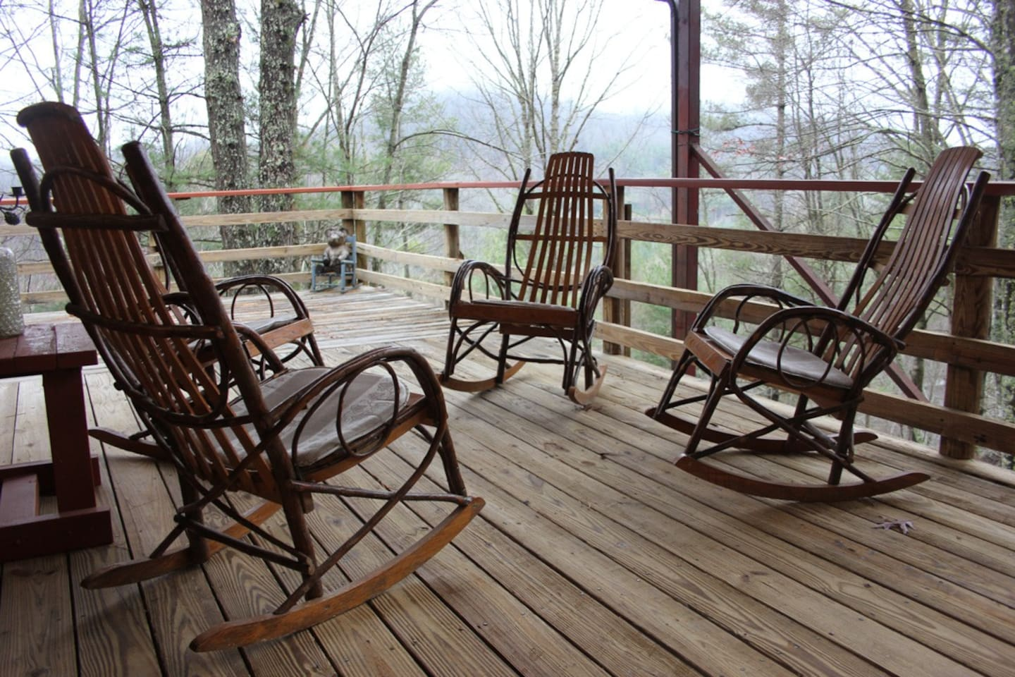Relax and rock on a covered deck.