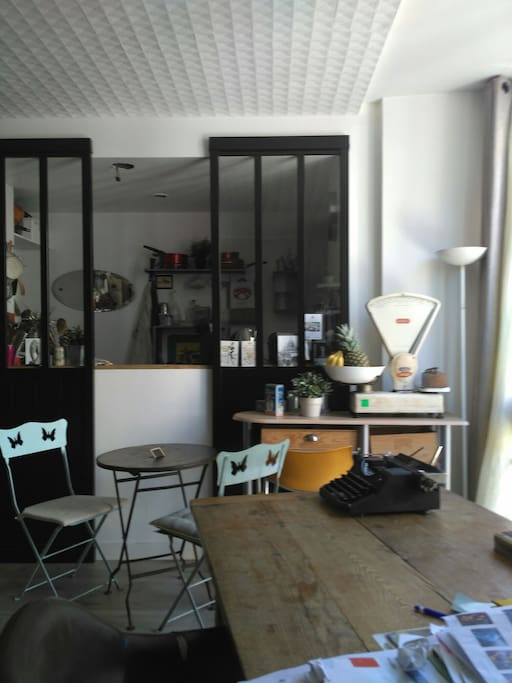 cuisine équipée ( plaques induction, frigo, lave-vaisselle, four multi-fonctions, vaisselle...) ouverte sur salon.