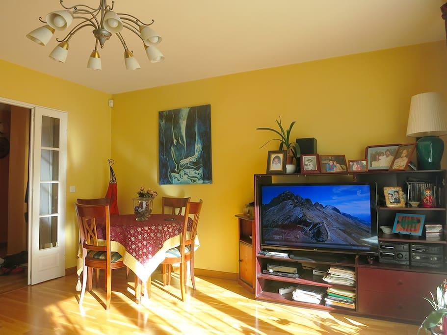 Le salon dispose également d'une grande TV
