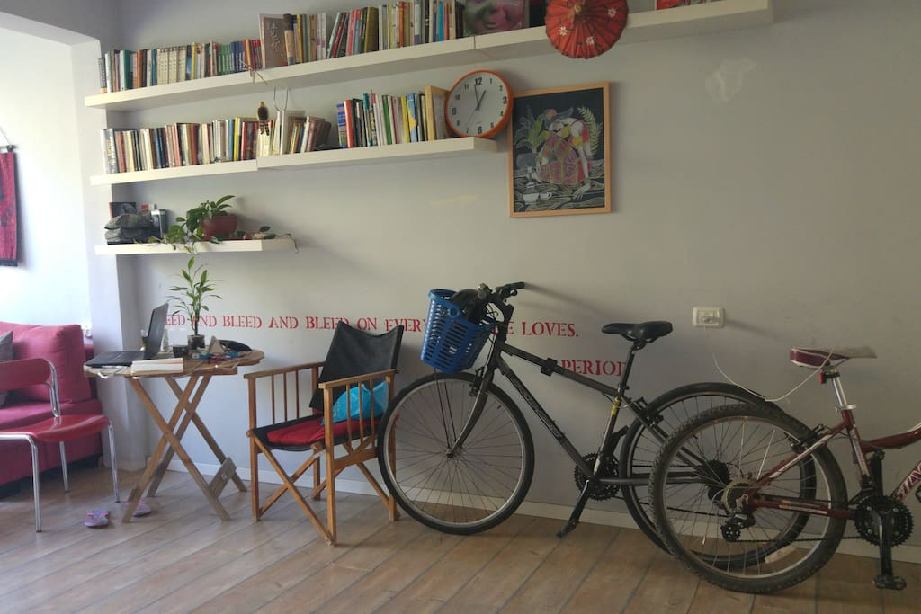 Library full of feminist, politics , poetry books (arabic, hebrow, chiness and english) 2 bikes for your use