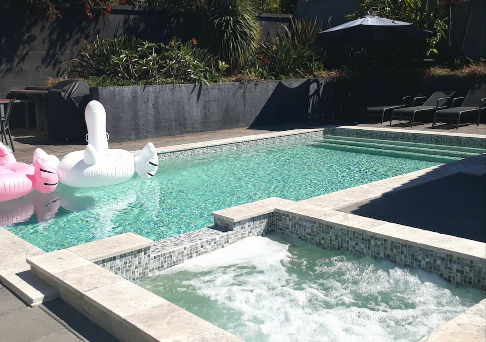 Solar heated crystal pool and spa. Swan having a time out ;)