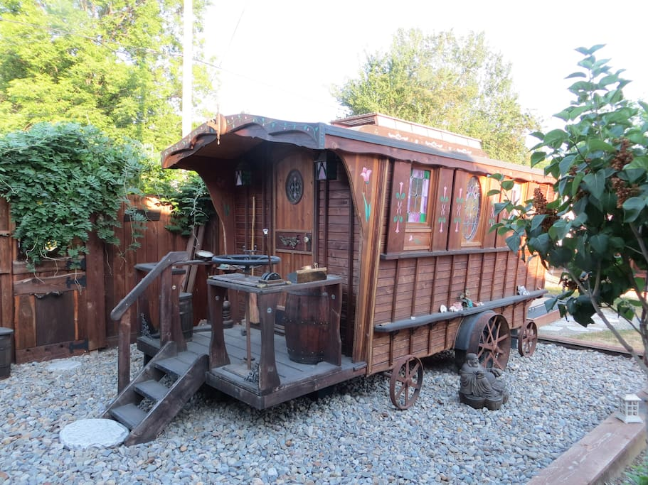 Hand built gypsy wagon that can be made available for extra sleeping space