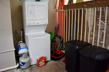 Washer, dryer machine and garbages cans backdoor.