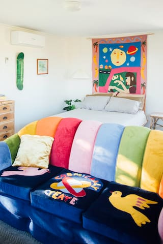 seperate studio shack with original artwork couch