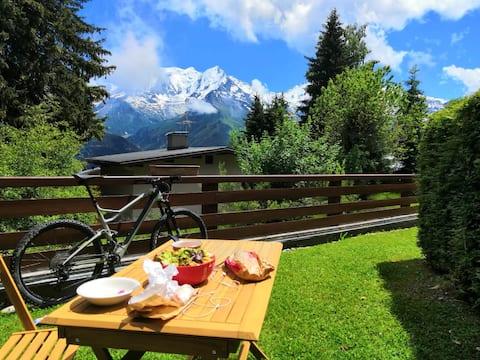 4/6 os. Widok na Mont Blanc, ogród, 50m od stoków