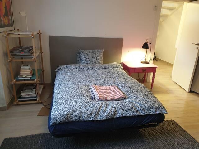 Bedroom in the basement. Sleeps two (140x200)