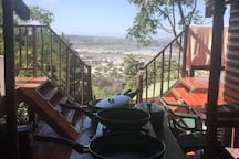 Cooking area and braai/BBQ with views