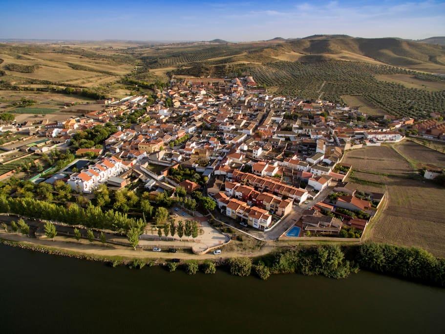 Vista aérea de las Herencias a orillas del Tajo
