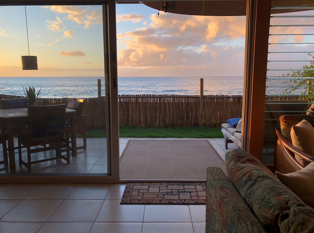 Enjoy sunset dining every night without ever leaving the condo! Bonus: No one is allowed to walk in front of the condo = total privacy.