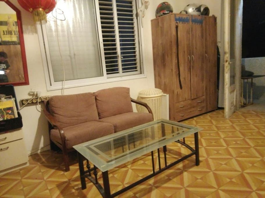small couch and a table