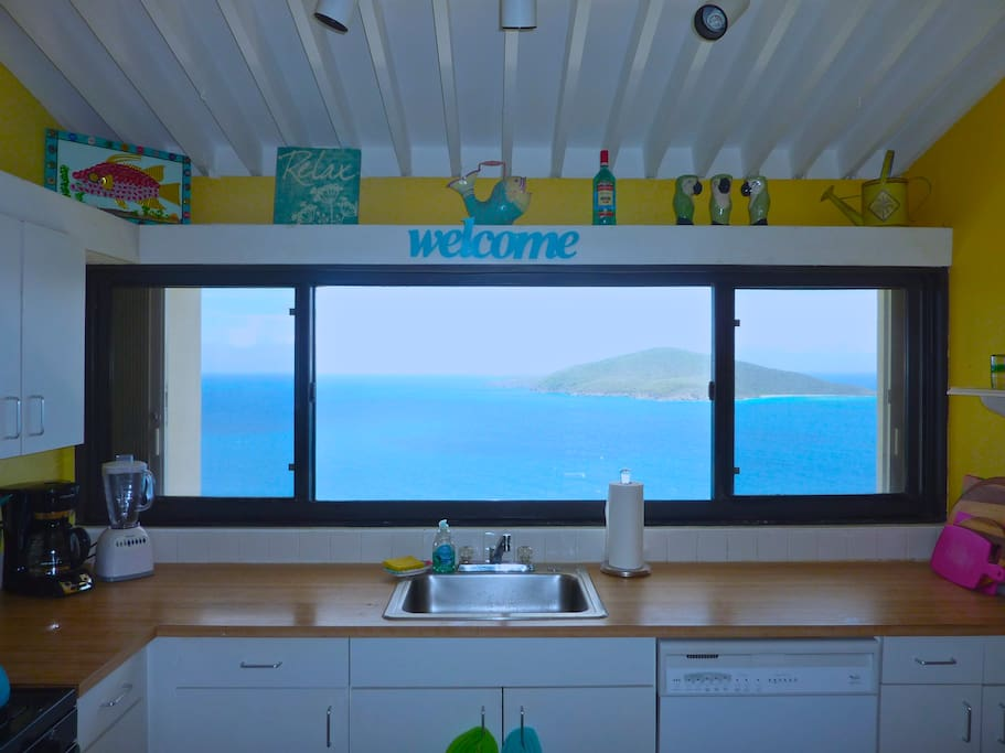 Full kitchen with island view.