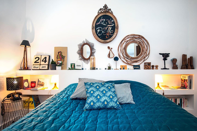 Chambre Déco Arty Made in Roubaix 20m2 avec lit King Size