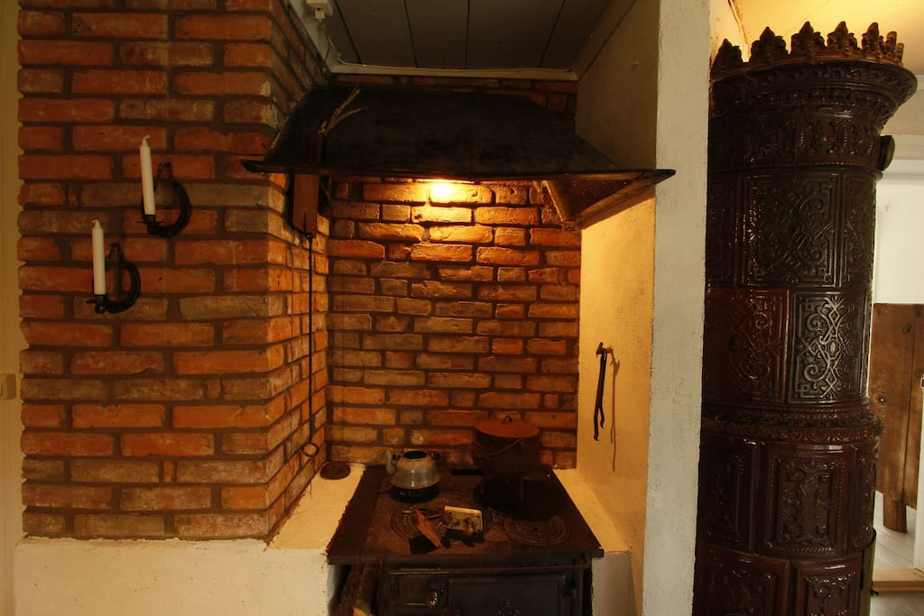 Old bricks and stove