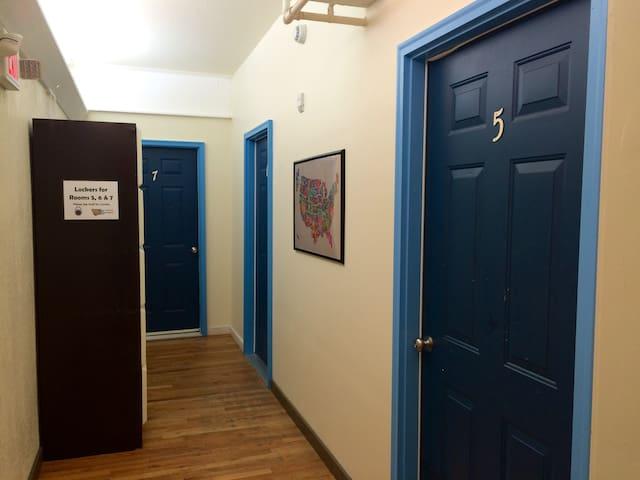 Front of the door and lockers