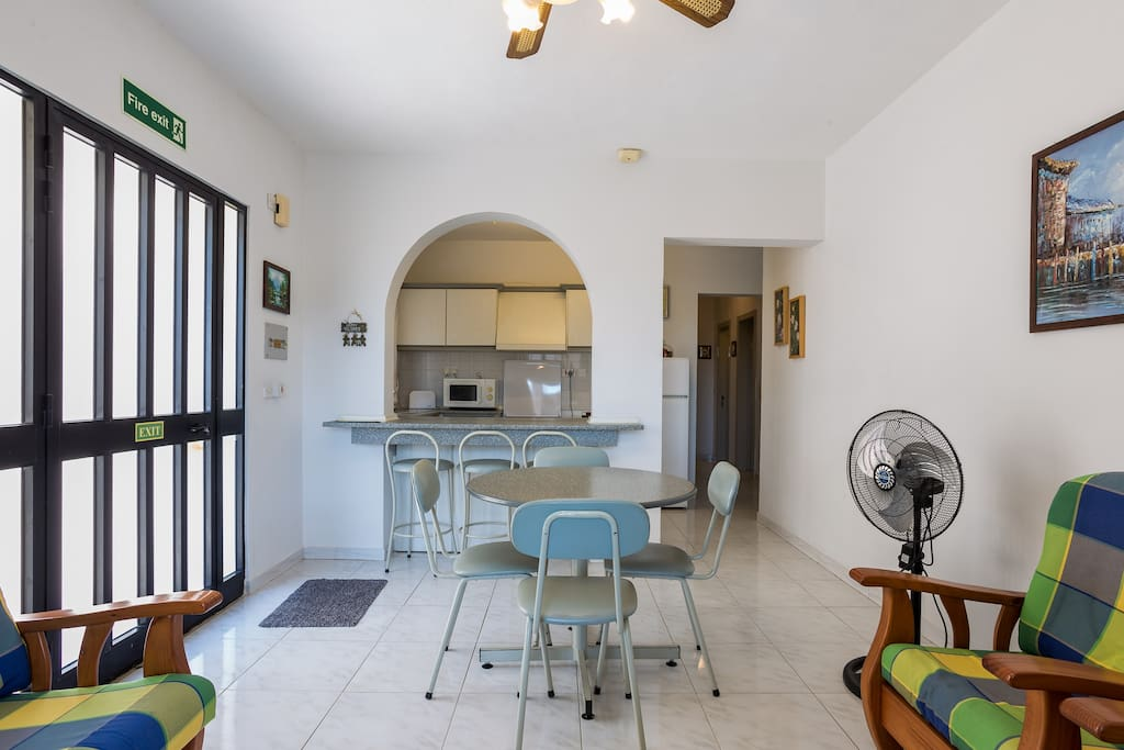 Kitchen, living, dining area