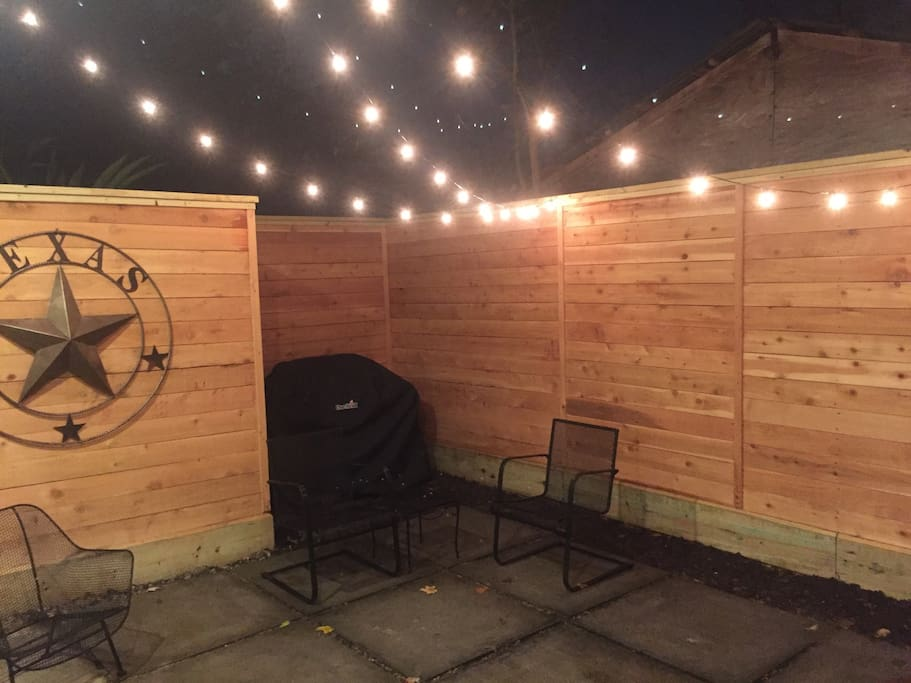 Back patio with grill, fire pit and market lights