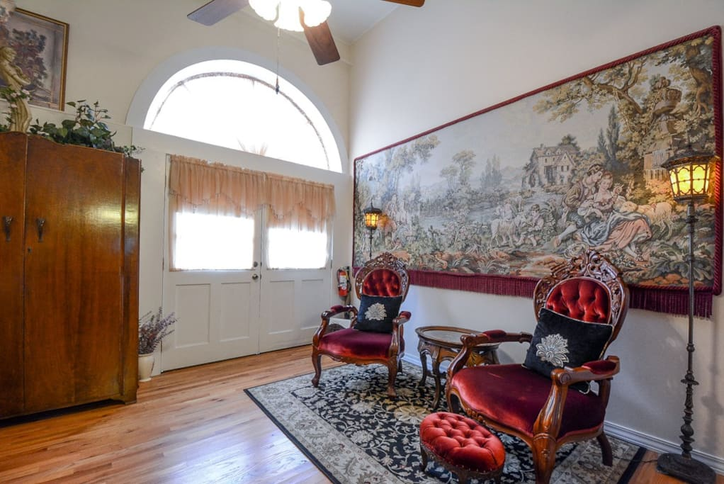 Antique Tapestry and chairs