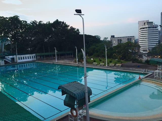 The Chin Woo Association, a 10-15 minute walk from the apartment has an Olympic-size swimming pool and hosts many activities, including Tai Chi classes. It costs about RM3 per entry to the swimming pool.