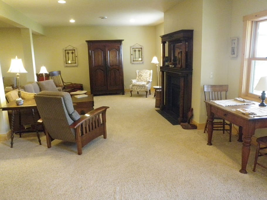 Large living area with TV in Armoire