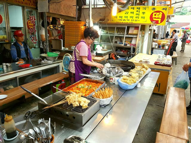 Tteokbokki in traditional market. This place is famous in local. :)