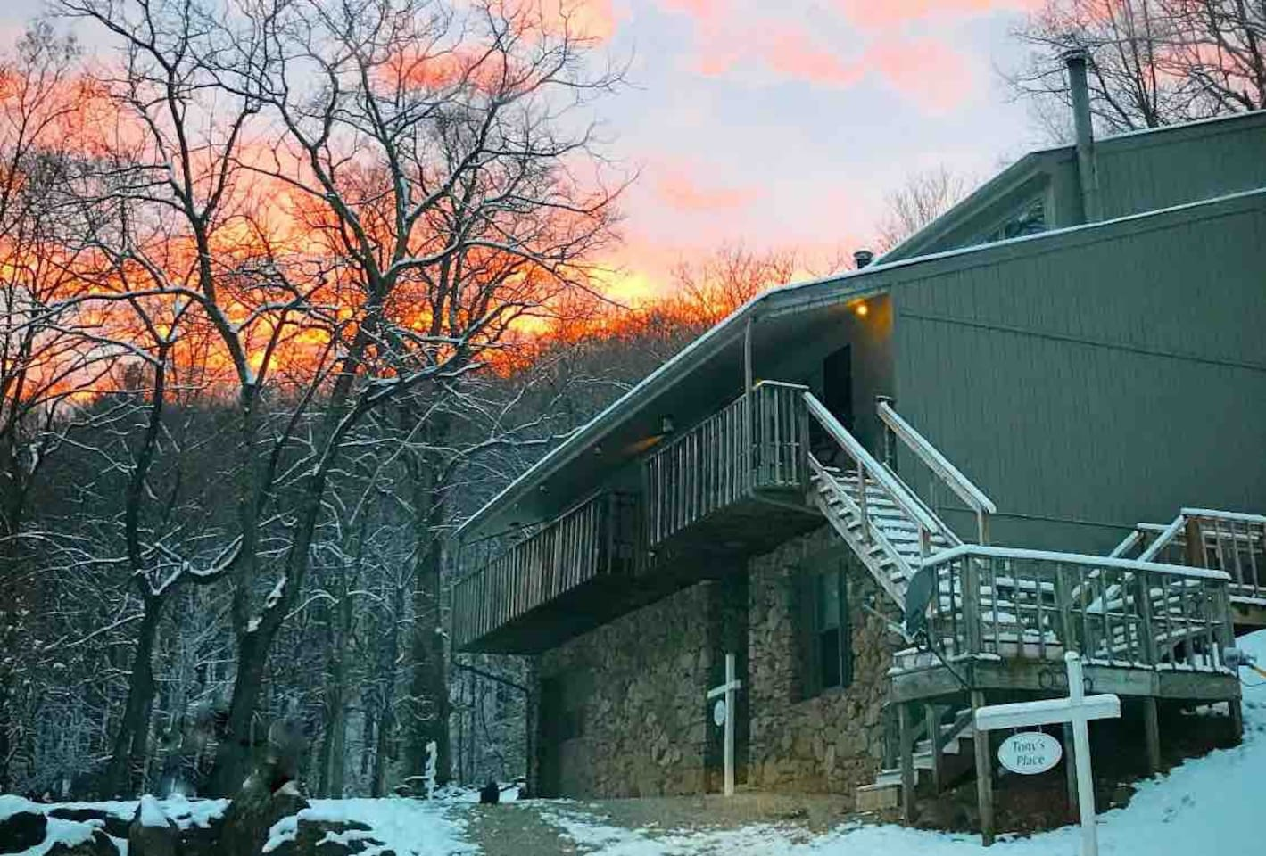 Tony's has a nice front porch for enjoying your morning coffee and sunrise while listening to the wind in the trees and the Tye River rushing just down the hill.
