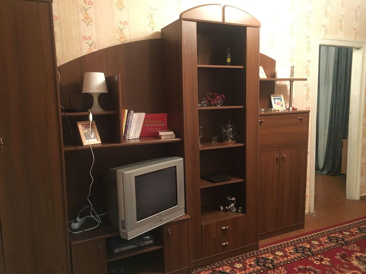 Уютная гостиная / Cozy living room with TV