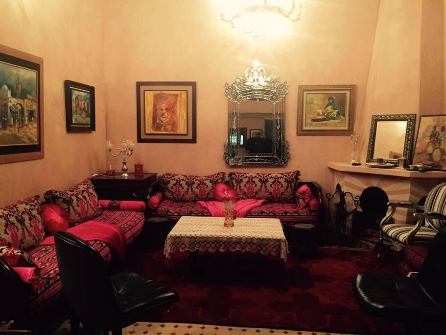 Salon au rez de chaussée du Riad