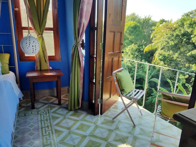 Upstairs bedroom has a balcony overlooking a dry stream -- perfect for reading a book.  Lots of parrots, other colorful birds and butterflies to see.