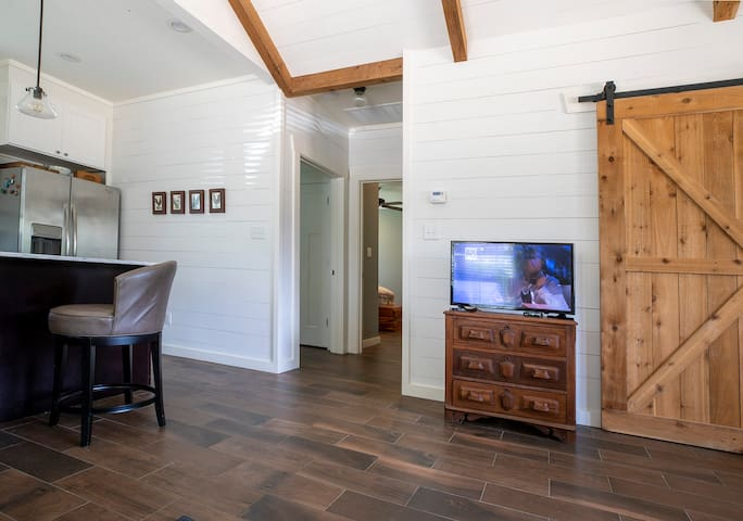 Living Area with Cable and Internet Television.