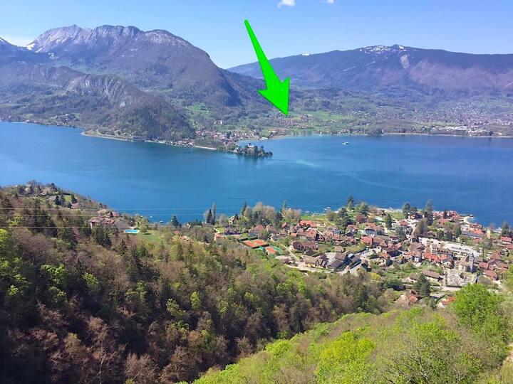 Chambre dans chalet entre lac et montagne