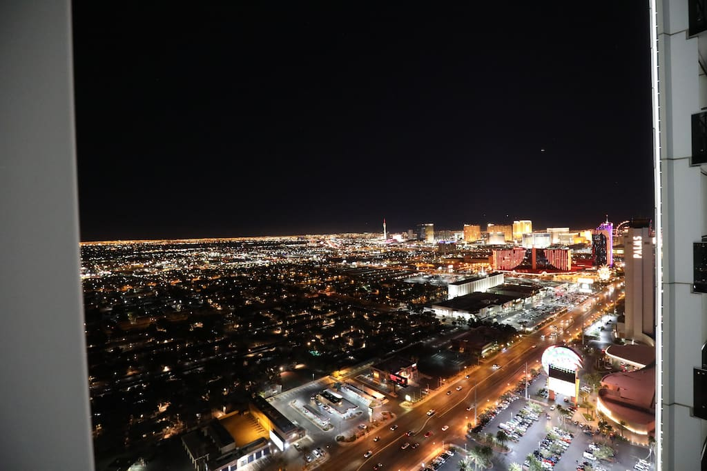Night view from balcony of the strip