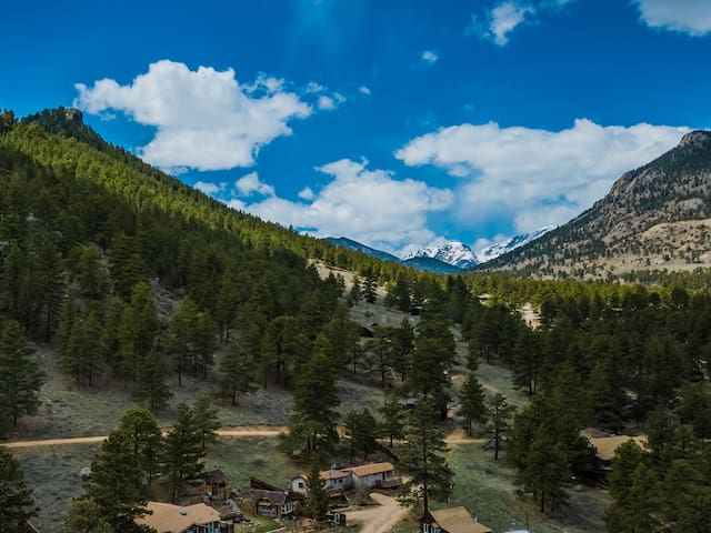 There's my small cabin, and nearly everything else in this picture is part of Rocky Mountain National Park. Yes, it's that close!!