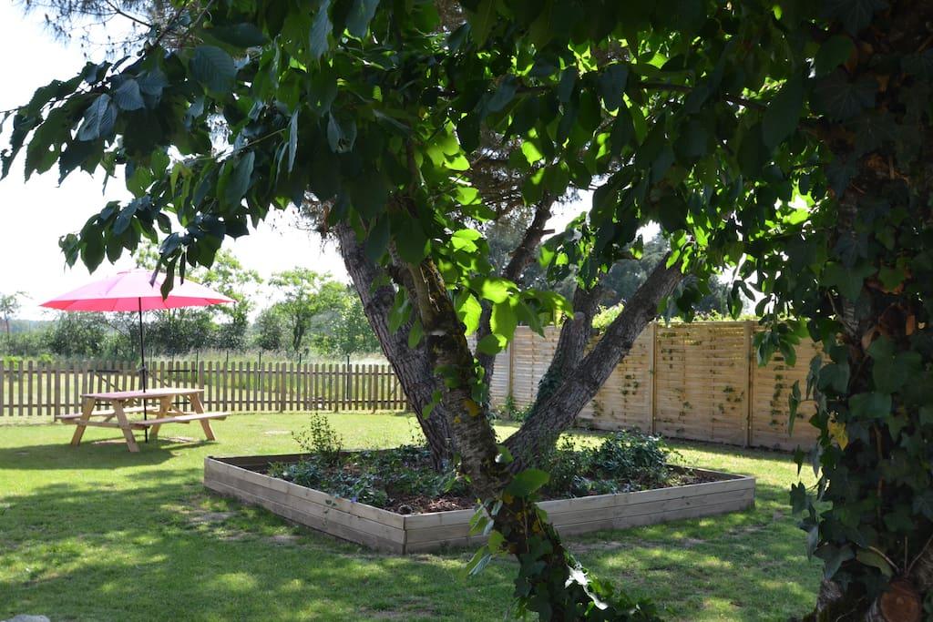 De grote boom in de tuin biedt schaduw wanneer gewenst en de Picknick tafel aan het einde van de tuin is heerlijk om gezellig in open lucht of onder de parasol te genieten.