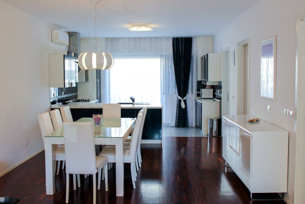 Spacious sunny dining room, 50 meter square  including kitchen, living room and 2 Air conditioner.