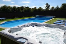 Our Hot Tub has powerful massage jets and great views.
