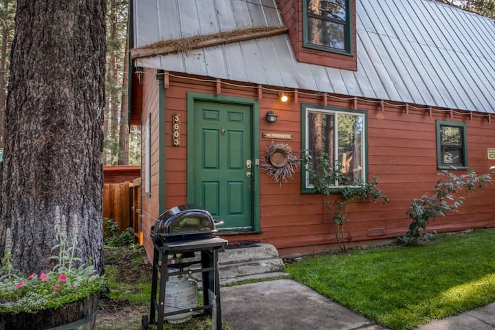Dog-friendly cabin w/ shared hot tub, gas fireplace, and trail access